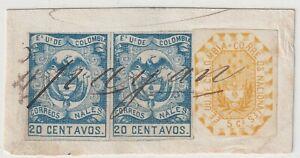 COLOMBIA - CLASSIC - 45c STRIP ON PIECE - MS POPAYAN CANCEL - 1860's - RARE
