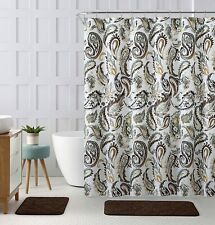 Decorative Chocolate Sage Fabric Shower Curtain Watercolor Floral Paisley Nwop
