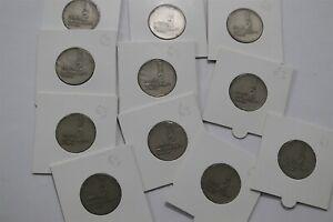 ISRAEL 1/2 LIRAH 1963 - 11 COINS WITH VAR. B34 CG46-10