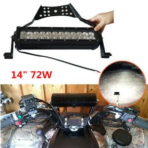 """14"""" ATV UTV Dirt Bike LED Light Bar Handlebar Mount Strip Lamp w/ Bracket Wiring"""