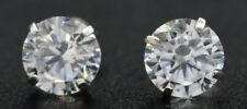 14k Solid White Gold  2.00ct 6mm Created Diamond Round Cut Basket Stud Earrings