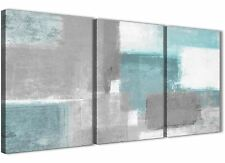 3 Set Teal Grey Painting Dining Room Canvas Accessories - Abstract 3377 - 126cm