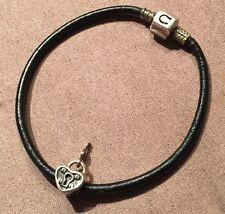 Chamilia Sterling Silver Key Lock Charm Bead GA1 & Chamilia Leather Bracelet 7.5