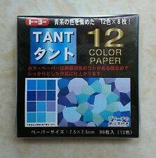 p537 Japanes Origami Double Sided Folding Paper 12 Blue Tant/Tone 7.5cm 96sheets