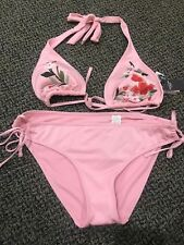 NWT ABERCROMBIE & FITCH Embroidered Halter Bikini Top Sz Large & Bottom XL