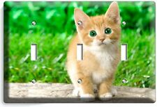 CUTE GREEN EYES KITTEN KITTY CAT TRIPLE LIGHT SWITCH WALL PLATE COVER  ROOM ART