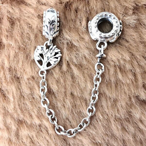 Authentic 925 Sterling Silver Heart Family Tree Safety Chain Charm Moments NEW