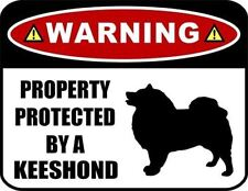 Warning Property Protected by a Keeshond (Silhouette) Laminated Dog Sign