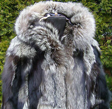 ARCTIC  FOX FUR Jacket with Hood Patchwork  size S/M