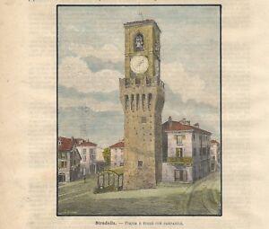 Stampa antica STRADELLA Piazza e Torre Civica Pavia 1891 Old antique print