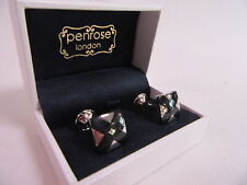 Penrose of London Designer Silver & Black Herald Enamel Cufflinks RRP £85 #CL87