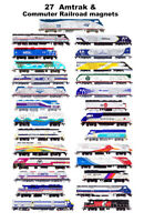 Amtrak & Commuter Railroads 27 magnets by Andy Fletcher