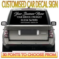 PERSONALISED BUSINESS NAME STICKER Car Van Rear Window Door Sign Writing Vinyl