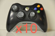 Lot of 10 Official Microsoft xbox 360 Wireless Controller Black (worn thumbpad)