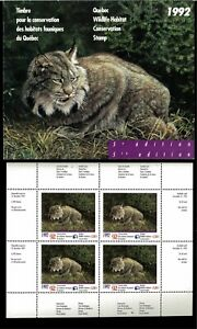 Quebec #5MS 1992 Lynx Surcharged + Conservation Mini Feuille De 4 IN Dossier