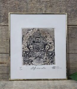 Traditional Altar Day of the Dead Brass Frame Etching by Abelar Mexican Folk Art