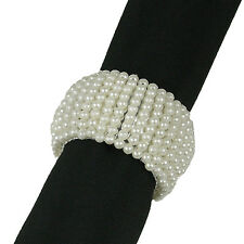 6 PEARL BEADED NAPKIN RINGS ON TUBULAR FORM, Have 100s