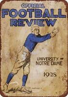 """1928 Notre Dame Football Review Rustic Vintage Retro Metal Sign 8"""" x 12"""""""