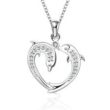 Heart Graceful Fish Dolphin Chain Charm Pendant Necklace Silver Plated Valentine