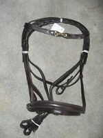 NEW ENGLISH BRIDLE, SNAFFLE BIT ON BROW BAND HORSE SIZE, BROWN LEATHER NICE