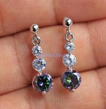 18K White Gold Filled - 6MM MYSTICAL Rainbow Topaz Round Cocktail Lady Earrings