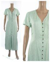 ex Marks & Spencer Polka Dot Mint Button Through Maxi Vintage Design Tea Dress