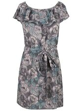 Ladies Dress Floral Pattern 100% Cotton Womens Elasticated Collar Scoop Neck New