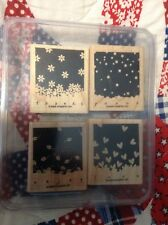 """Stampin' Up """"GENTLY FALLING"""" 4 Stamps Mounted Thanks, Peace, Love, Enjoy New"""