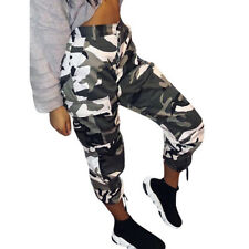 Womens Casual Long Pants Camo Cargo Joggers Trousers Hip Hop Rock Trousers Jeans