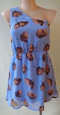 """New """"Embellished"""" Summer size 14 blue floral print dress one shoulder"""