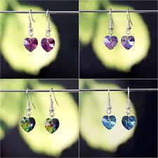 925 Sterling Silver Dangle Earring with Genuine Swarovski Elements Crystal Heart