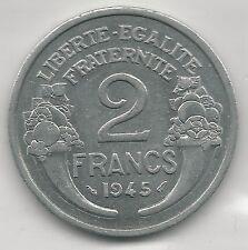 FRANCE,  1945,  2 FRANCS, ALUMINUM,  KM#886a.1, ALMOST UNCIRCULATED