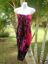 Hawaii Pink Black Plumeria Pareo Sarong Hawaiian Wrap Beach Pool Cruise Dress