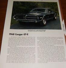 ★★1968 MERCURY COUGAR GT-E SPECS INFO PHOTO 68 GTE 427 67 COUGER★★