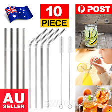 5x Stainless Steel Metal Drinking Straw Straws Bent Reusable Washable 2 Brushes