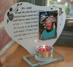 His Smile Poem Verse Memorial Photo Frame Candle Holder Plaque Ornament Gift New