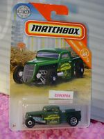 2019 Matchbox #21 '35 FORD PICKUP truck☆drab green/gray;yellow☆CONSTRUCTION 5/20