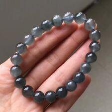 9mm Rare Natural Blue Rabbit hair Quartz Crystal Round Beads Bracelet AAAA