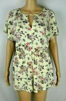 Be Hop Be You Be Free Yellow Floral Print Shorts Romper Women's Size Small EUC G