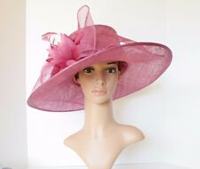 Kentucky Derby Church 3 Layers Big Bow Sinamay Wide Brim hat (Dark Fuschia)