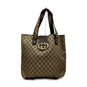 Vintage Gucci Tote Bag Double-G Browns PVC 1420911