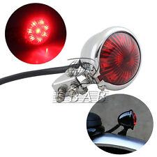 Chrome Red Lens Vintage Bates Style LED Tail Brake Light ATV  Buggy Motor Bike