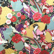 Geisha fabric, Japanese ladies, metallic fans, gold floral oriental cotton maiko