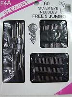 60pc Silver Eye Needles Jumbo Stitch Various Sizes/styles Included Spool Bobbin
