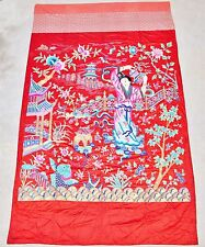 "Big Antique Chinese Red Silk Embroidery Panel w/ Lady or Immortal (133"" x 80.5"")"