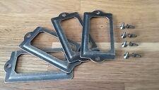 4 CASSETTO FRAME BOX CASE CABINET CARD etichetta titolari 70x33mm Ottone Antico