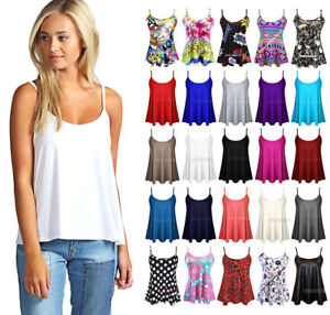 New Womens Swing Vest Sleeveless Top Strappy Ladies Plus Size Flared Cami 8-26
