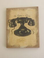 "ANTIQUE TELEPHONE Art Gesso Paint Phone PRINT On Framed Burlap Canvas 19"" x 16"""