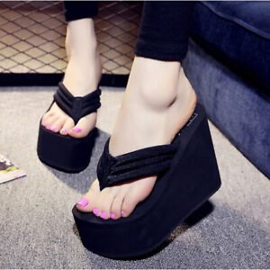 Women Wedge  Antiskid Beach Sandals Platform High Heel Flip Flops Slippers Shoes