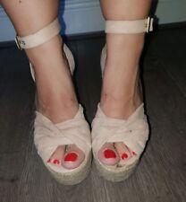 Topshop straw platform wedges sandals heels nude pink espadrille 6 39